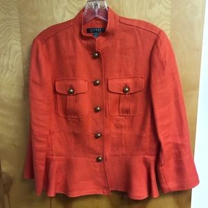 Lauren Ralph Lauren orange linen jacket sz8